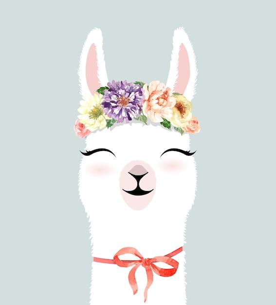 Schattig hand getekend lama karakter met bloem kroon aquarel. Premium Vector