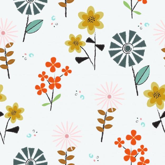 Schattig hand getrokken bloemen naadloze patroon achtergrond Premium Vector