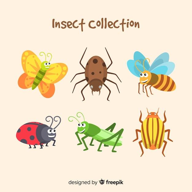 Schattig hand getrokken insect pack Gratis Vector