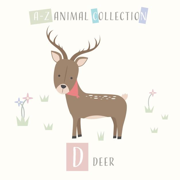 Schattig herten cartoon doodle dier alfabet d Premium Vector