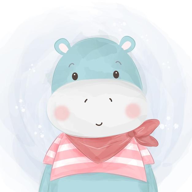 Schattig hippo baby illustratie Premium Vector