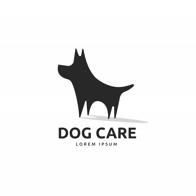 Schattig hond silhouet logo Premium Vector