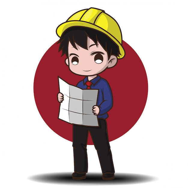 Schattig ingenieur cartoon karakter. Premium Vector