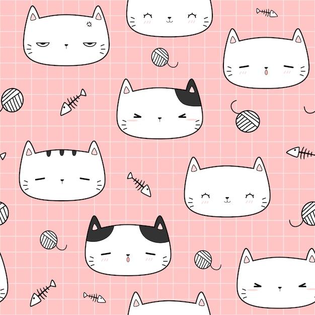Schattig kat hoofd cartoon doodle naadloze patroon Premium Vector
