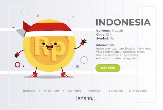 Schattig kawaii munt karakter illustratie concept van idr rupiah uit indonesië. Premium Vector