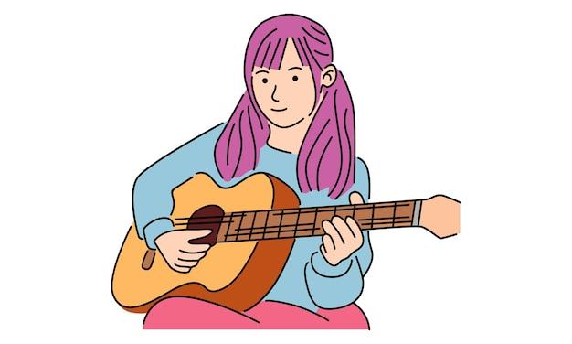 Schattig klein meisje gitaar spelen instrument met blij gezicht expressie Premium Vector