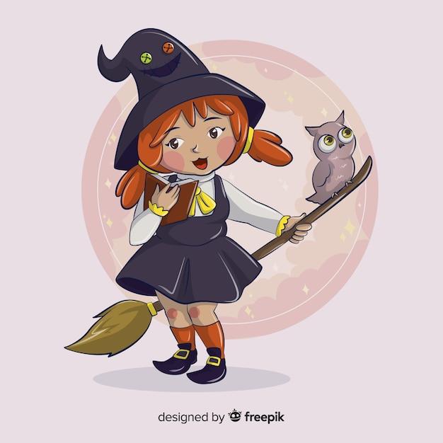Schattig klein meisje heks met een uil Gratis Vector