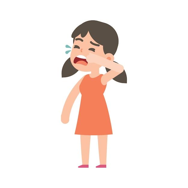 Schattig klein meisje huilen Premium Vector