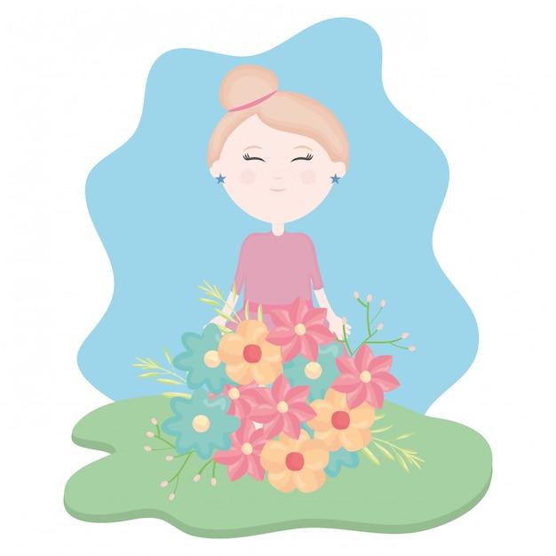 Schattig klein meisje met bloemen boeket in het veld Gratis Vector