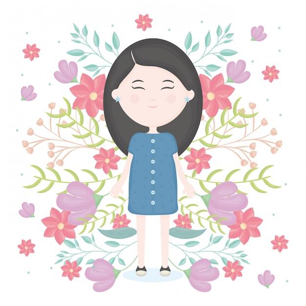 Schattig klein meisje met florale decoratie karakter Gratis Vector