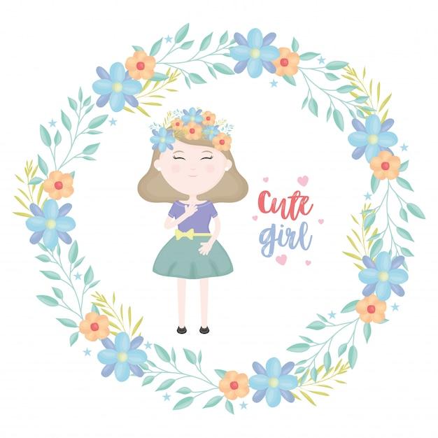 Schattig klein meisje met florale kroon karakter Gratis Vector