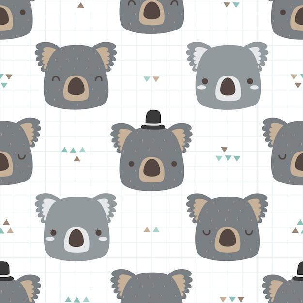 Schattig koala cartoon doodle naadloze patroon voor kind Premium Vector