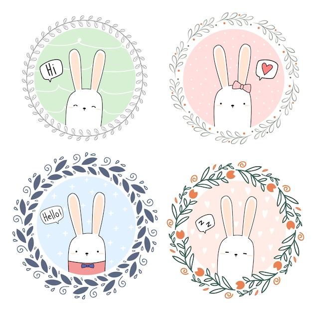 Schattig konijn bunny cartoon doodle krans banner behang Premium Vector