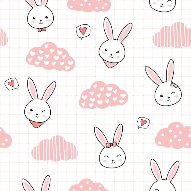 Schattig konijn cartoon doodle naadloze patroon Premium Vector