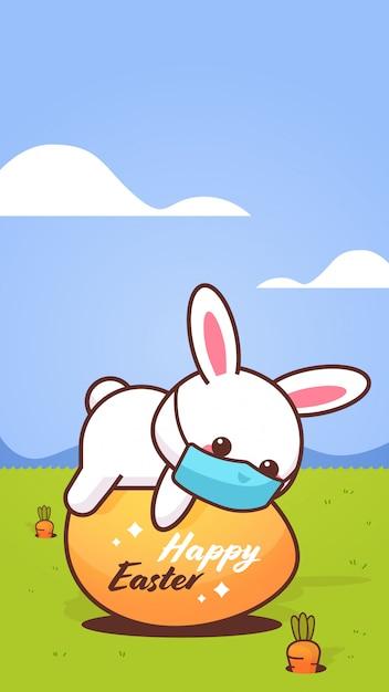 Schattig konijn draagt gezichtsmasker om te voorkomen dat het coronavirus happy easter bunny op ei sticker ligt Premium Vector