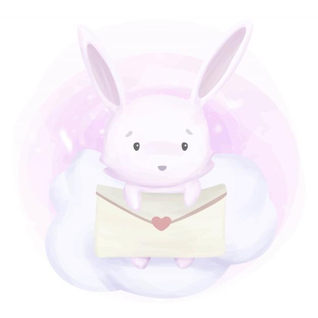 Schattig konijn en liefdesbrief Premium Vector