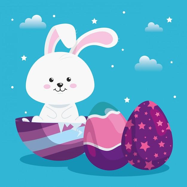 Schattig konijn met eieren pasen ingericht vector illustratie ontwerp Premium Vector