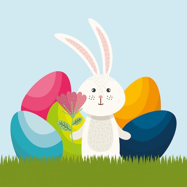 Schattig konijn vrolijk paaskaart Premium Vector