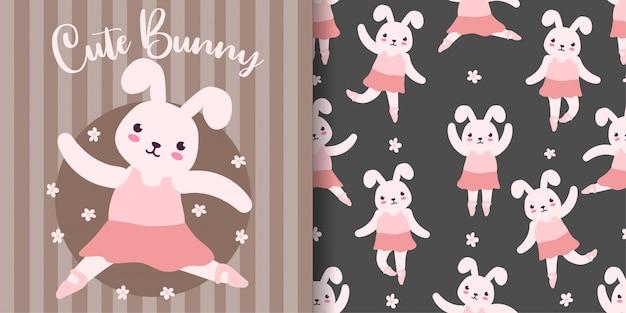 Schattig konijntje ballet dier naadloos patroon met baby kaart Premium Vector