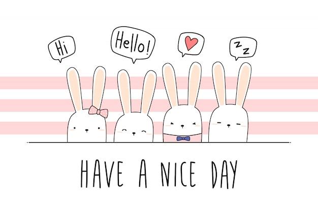 Schattig konijntje cartoon doodle pastel behang Premium Vector