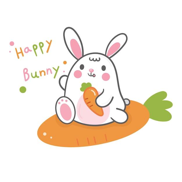 Schattig konijntje cartoon en wortel Premium Vector