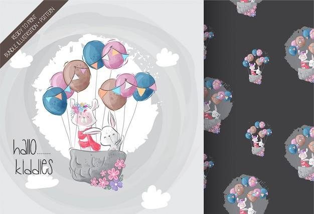 Schattig konijntje, lama's met luchtballon schattig dieren naadloos patroon Premium Vector