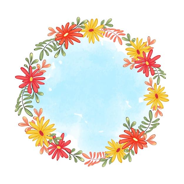 Schattig krans frame van herfst gerbera's en bladeren. blauwe aquarel Premium Vector