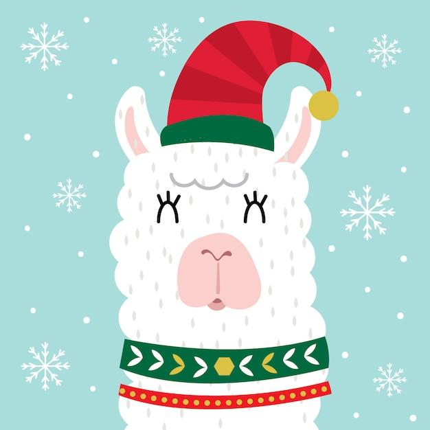 Schattig lama gezicht, schattige kerst karakter Premium Vector