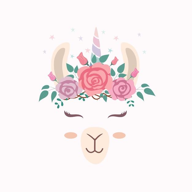 Schattig lama hoofd met eenhoorn hoorn. Premium Vector