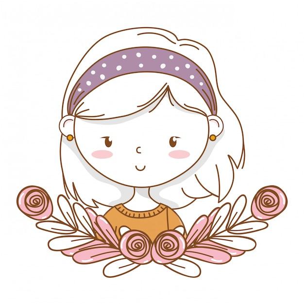 Schattig meisje cartoon stijlvolle outfit portret bloemen krans frame Premium Vector