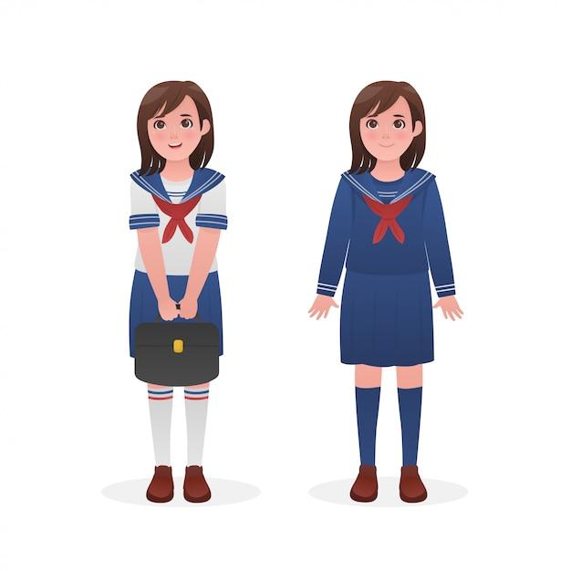 Schattig meisje dragen japanse matroos uniform karakter ontwerp Premium Vector