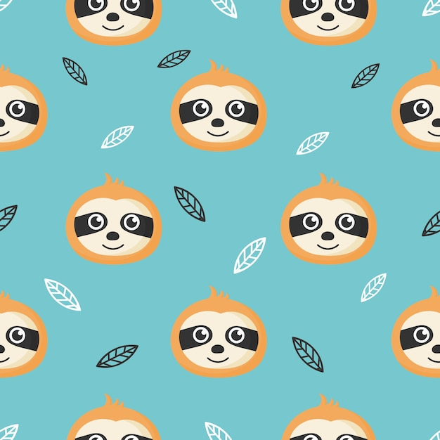 Schattig naadloos patroon met cartoon baby luiaards en bladeren voor kinderen. dier op blauwe achtergrond. Premium Vector