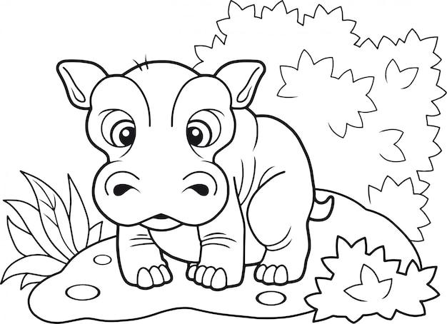 Schattig nijlpaard Premium Vector