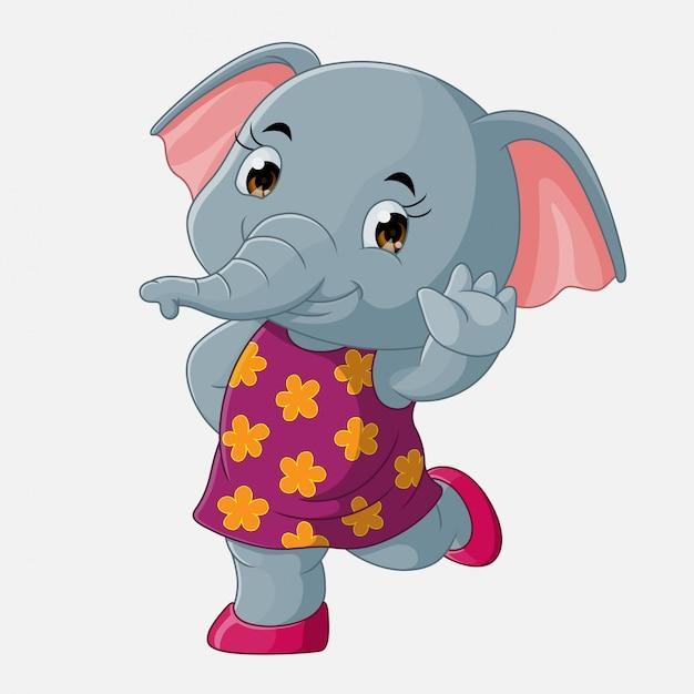 Schattig olifant cartoon zwaaien, vector Premium Vector