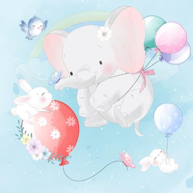 Schattig olifant en konijn vliegen met ballon Premium Vector