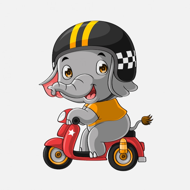 Schattig olifant rijden motorfiets hand getrokken Premium Vector