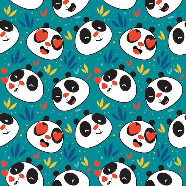 Schattig panda emoticon naadloos patroon Premium Vector