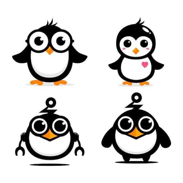 Schattig pinguïn mascotte vector ontwerp Premium Vector