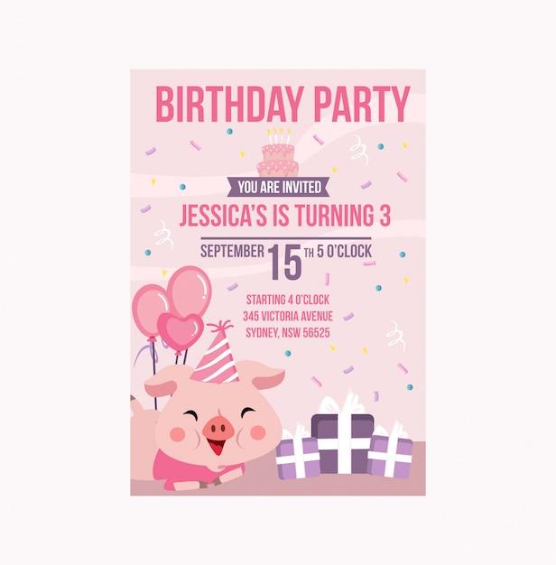 Schattig pink varken verjaardagsfeestje uitnodiging meisje Premium Vector