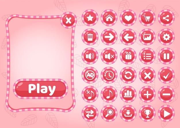 Schattig pop-up grens snoep en pictogram gui voor spel. Premium Vector