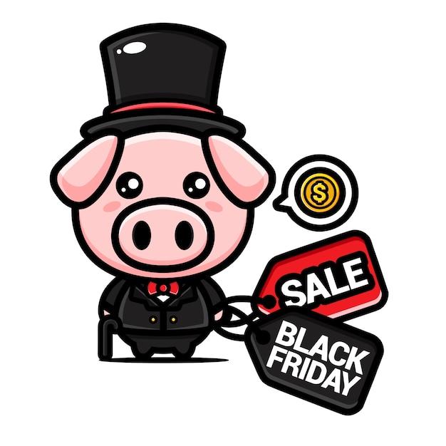 Schattig rijk varken met zwarte vrijdag kortingsbon Premium Vector