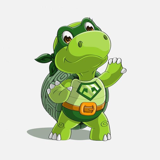 Schattig schildpad super held cartoon hand getrokken Premium Vector