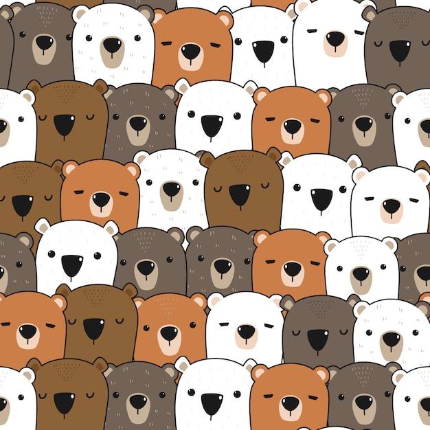 Schattig teddybeer cartoon doodle naadloze patroon Premium Vector