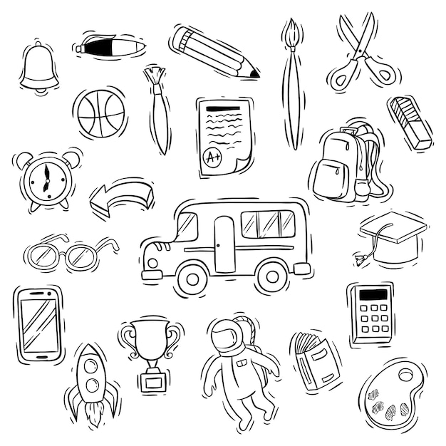 Schattig terug naar school pictogrammen collectie met doodle stijl Premium Vector