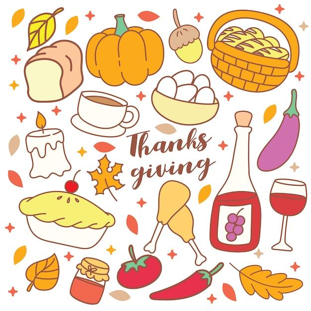Schattig thanksgiving-object doodle Premium Vector