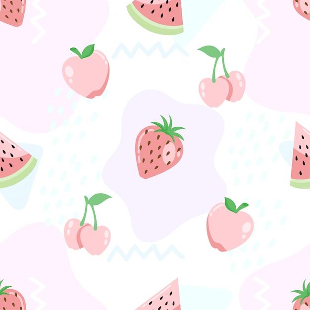 Schattig tropische zomer fruit naadloze patronen achtergrond Premium Vector