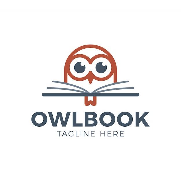 Schattig uil hoofd met boek onderwijs logo Premium Vector