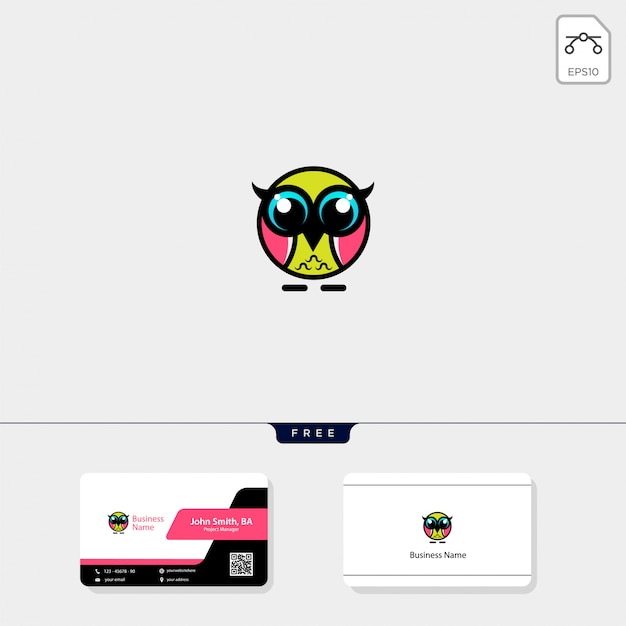 Schattig uil logo en krijg gratis visitekaartje ontwerp Premium Vector