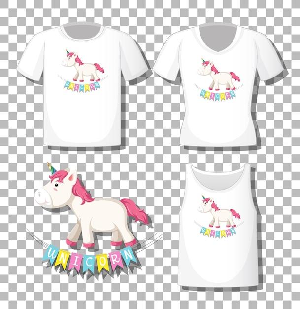 Schattig unicorn stripfiguur met set van verschillende shirts geïsoleerd op transparante achtergrond Gratis Vector