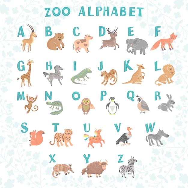 Schattig vector dierentuin alfabet. grappige cartoon dieren. brieven Premium Vector